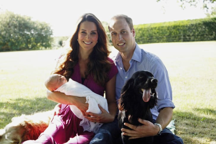 Catherine, Duchess of Cambridge and Prince William, Duke of Cambridge pose for a photograph with their son, Prince George of Cambridge, and Lupo, the couple's cocker spaniel.