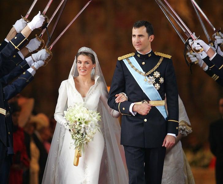Princess of Asturias Letizia Ortiz and Spanish Crown Prince Felipe of Bourbon at their wedding in 2004.