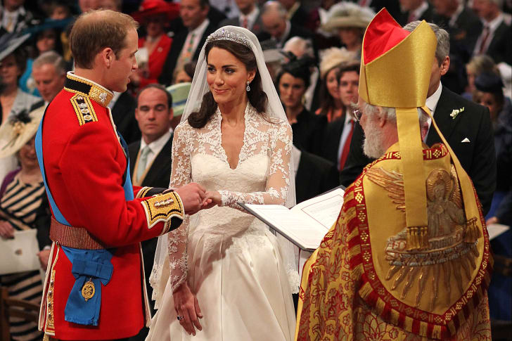 Prince William and Kate Middleton exchange vows in 2011.