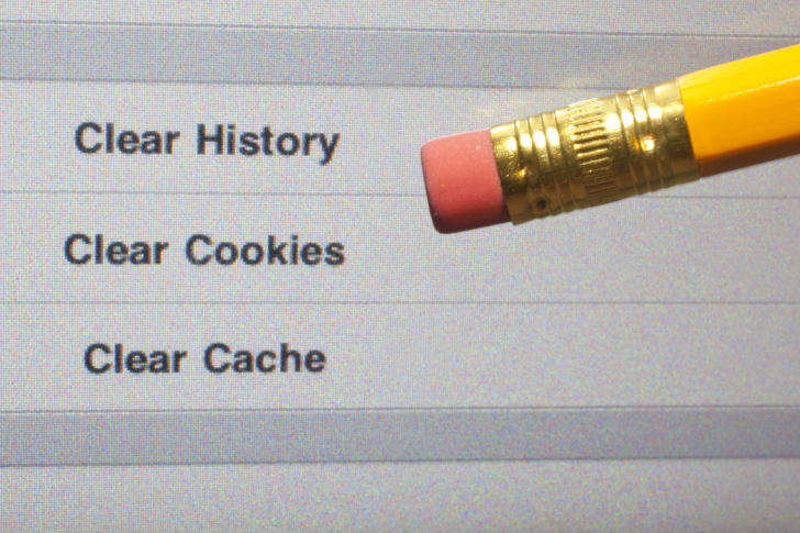 screen showing how to erase cookies