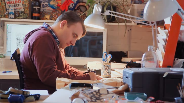 Hidden Pictures Illustrator Neil Numberman works at his studio in Brooklyn, NY (2016