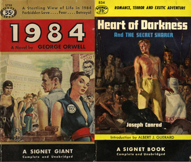 1984 and Heart of Darkness pulp covers