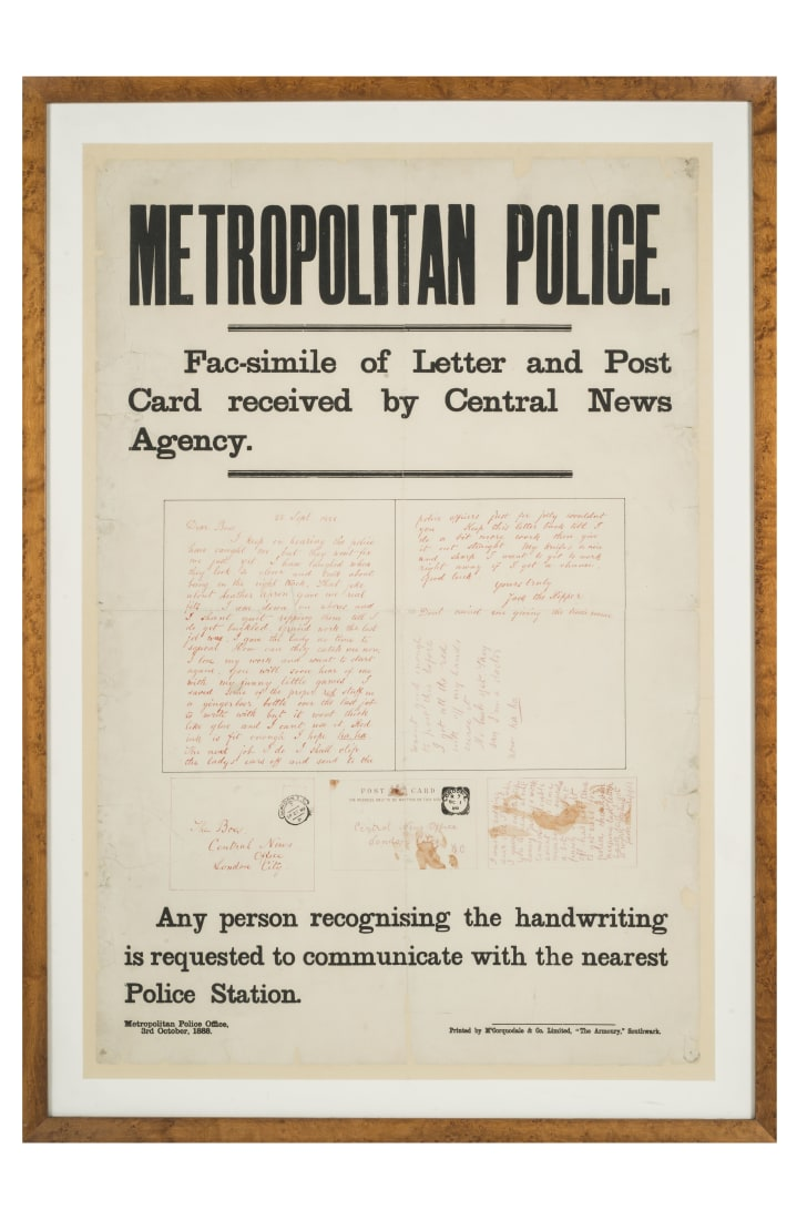 Jack the Ripper appeal for information poster issued by Metropolitan Police, 1888