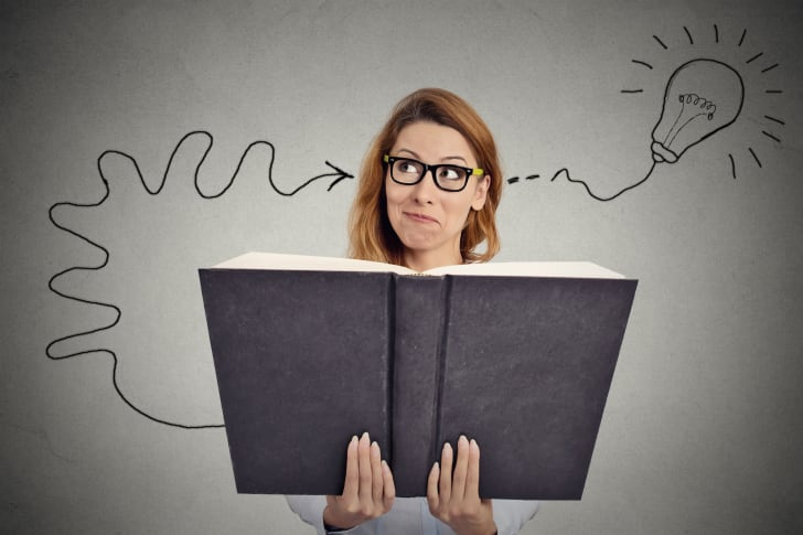 woman gets great idea from reading book