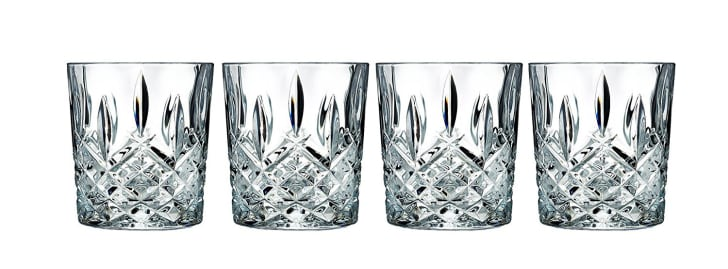Four crystal cocktail glasses