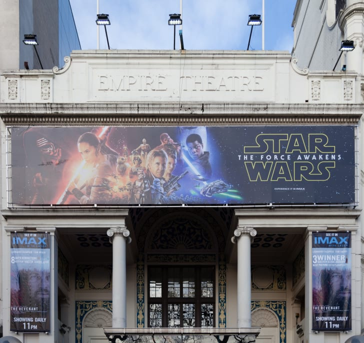 Star Wars: The Force Awakens on a movie theater marquee