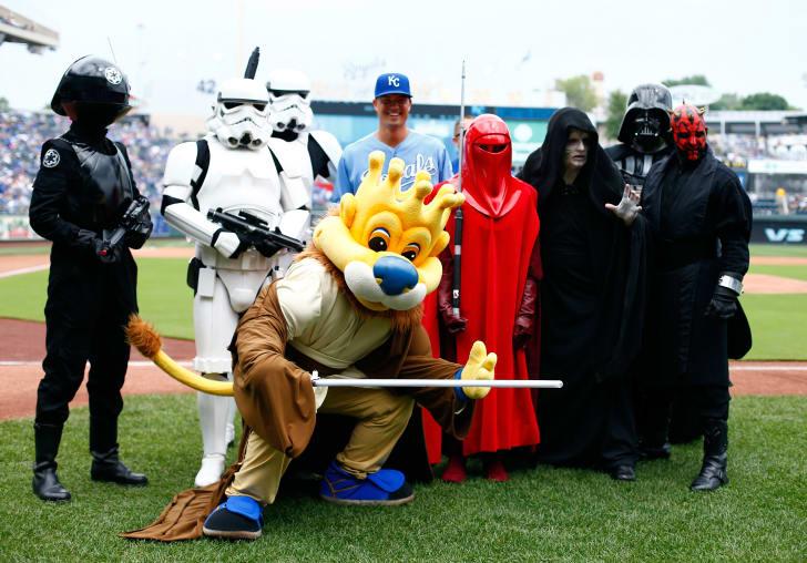 Star Wars Day at an MLB ballpark.