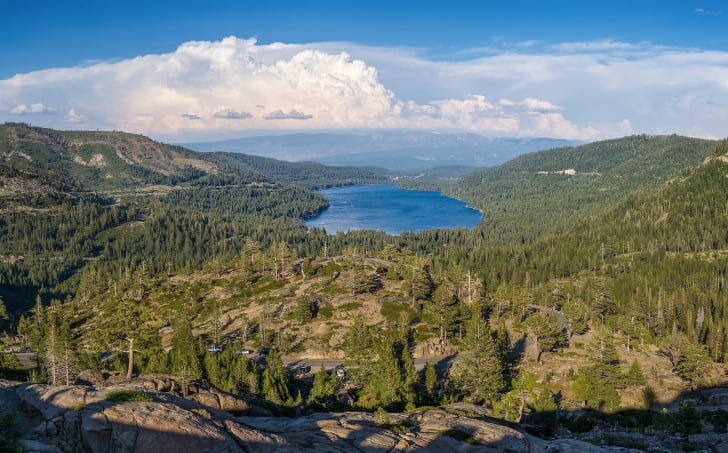 Donner Lake (formerly Truckee Lake) as viewed from Donner Pass.