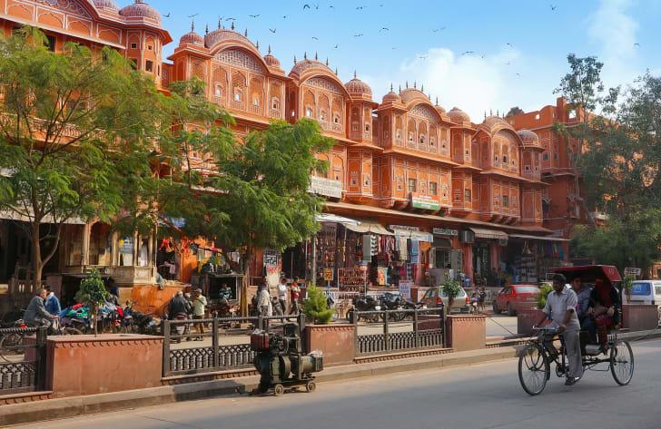 A row of pink buildings in Jaipur