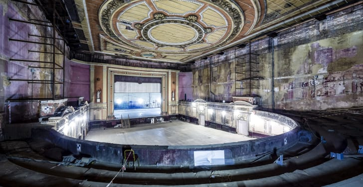 A dilapidated historic theater
