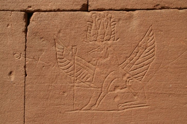 A winged lion at the Great Enclosure of Musawwarat es-Sufra