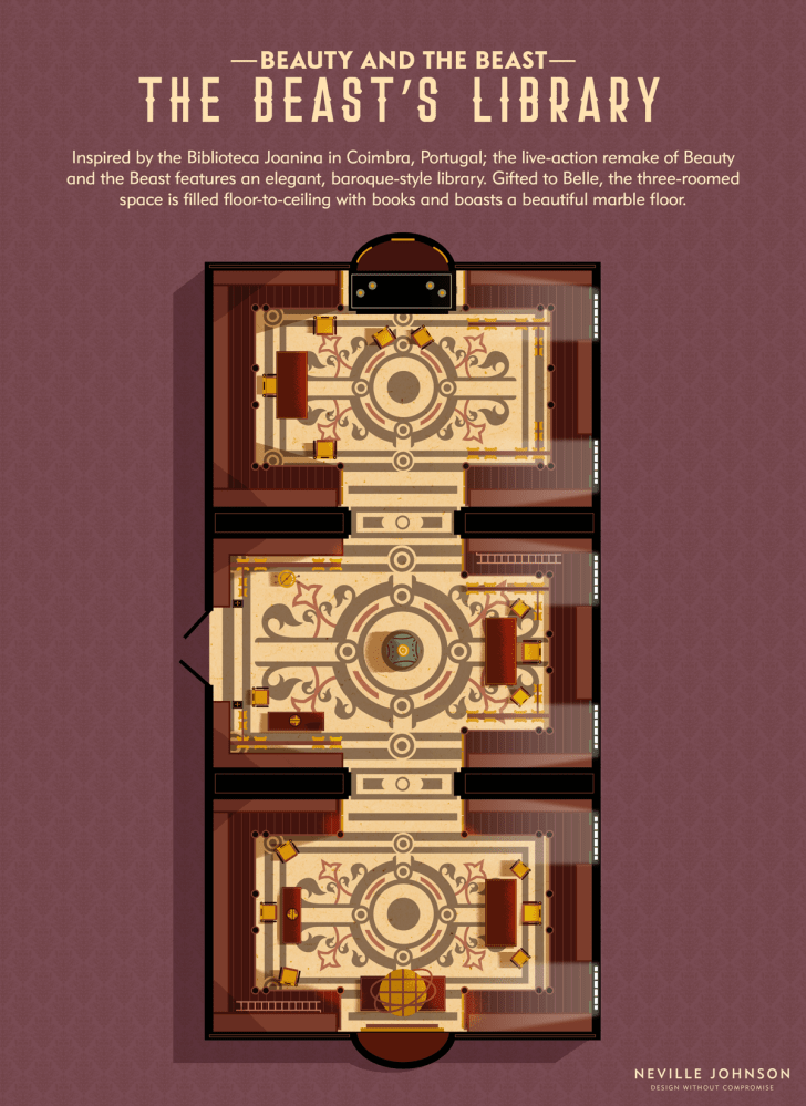 The floor plan of the Beauty and the Beast library