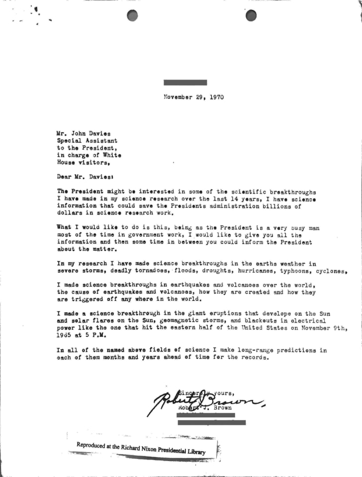 1970 letter sent to the White House science advisor