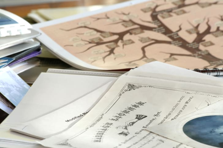 Research files being used for genealogy