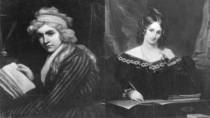 Mary Wollstonecraft, circa 1797; Mary Shelley, circa 1830.