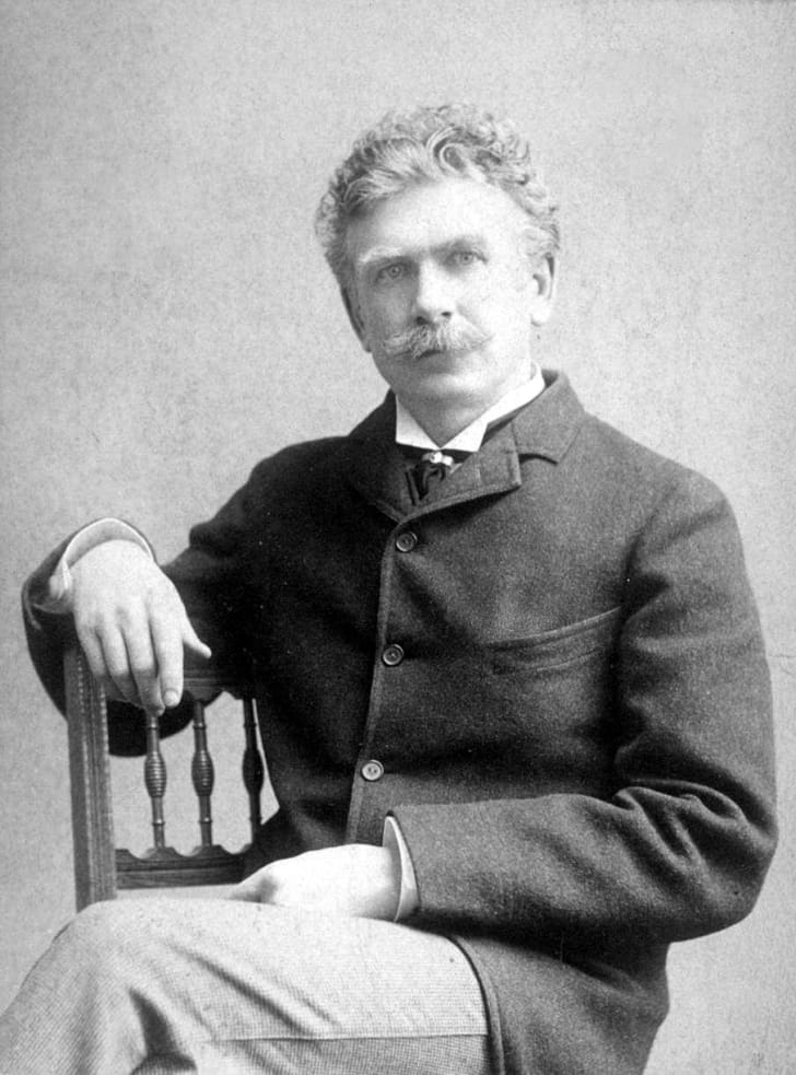 A seated portrait of Ambrose Bierce