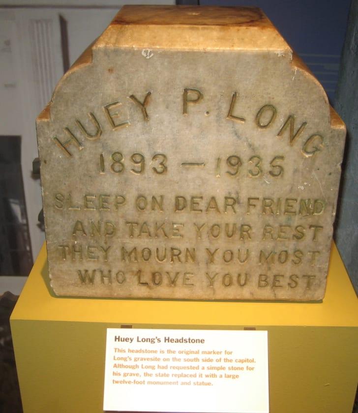 Huey Long's headstone.