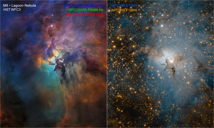 Two different views of the Lagoon Nebula