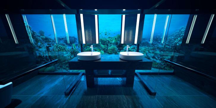 A room inside the Conrad's underwater villa in the Maldives
