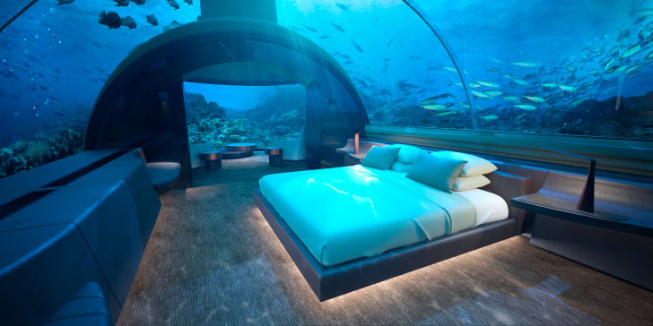 One of the bedrooms inside the Conrad's underwater villa in the Maldives