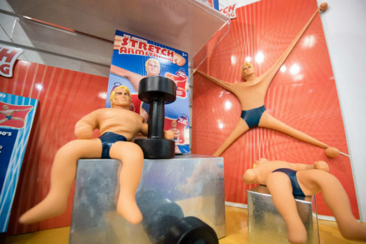 Stretch Armstrong toys are put on display
