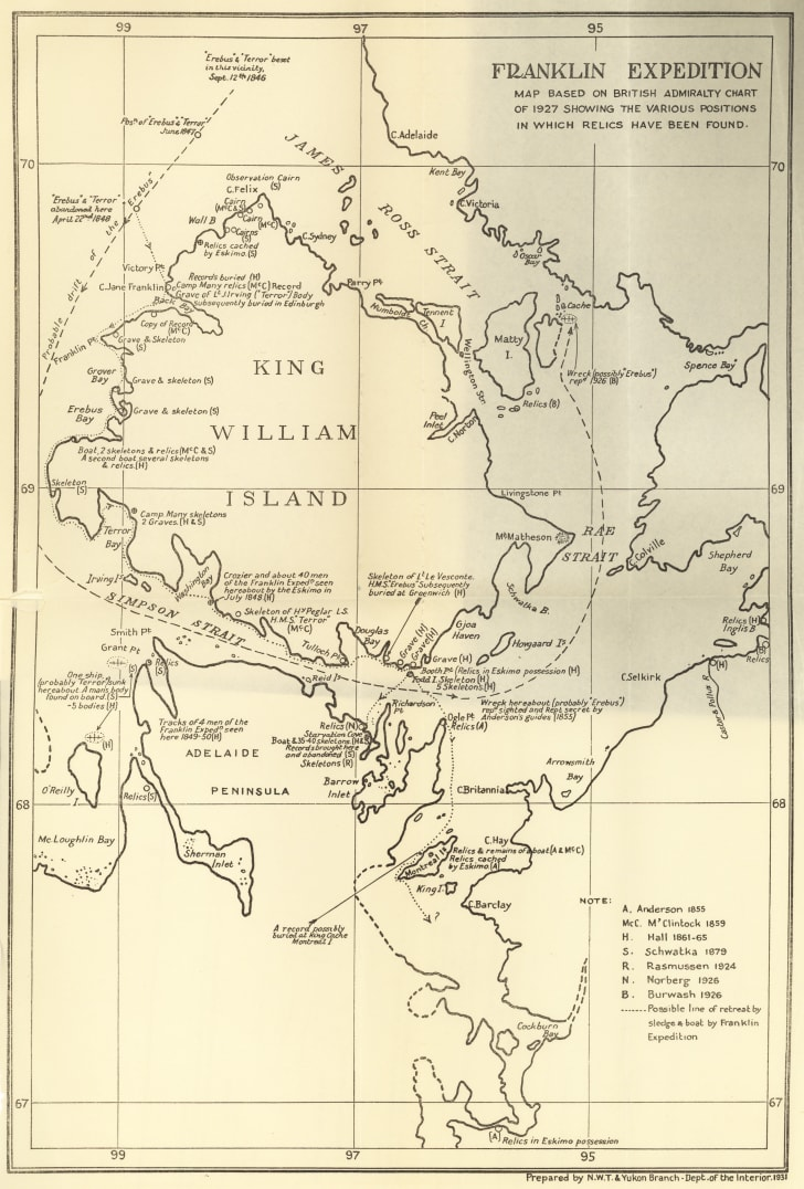 Map showing the locations of Franklin expedition relics