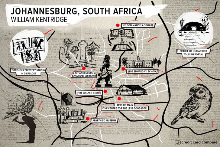 A map of Johannesburg in the style of William Kentridge