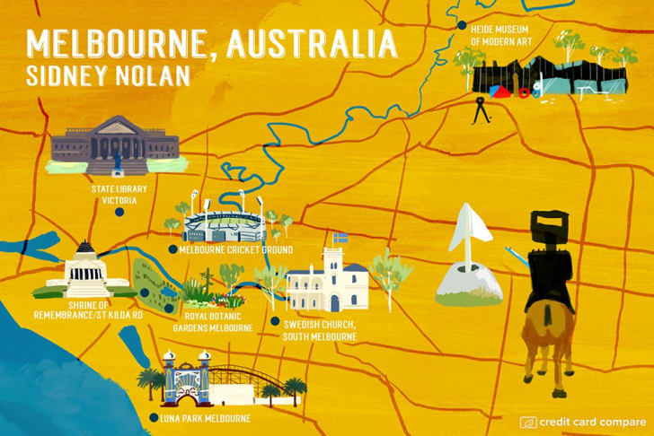 A map of Melbourne in the style of Sidney Nolan