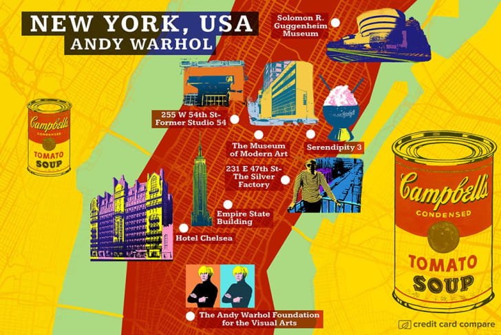 A map of New York City in the style of Andy Warhol