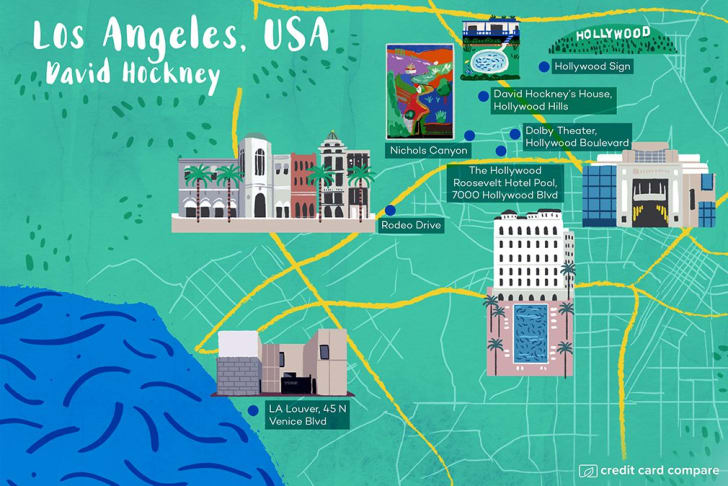 A map of LA in the style of David Hockney