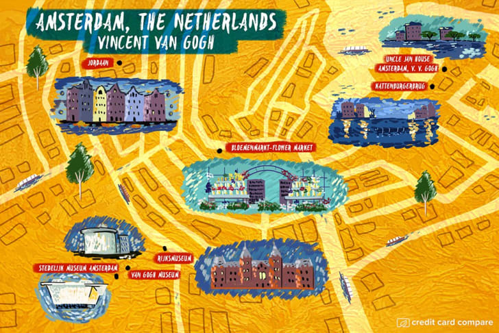 A map of Amsterdam in the style of Vincent van Gogh