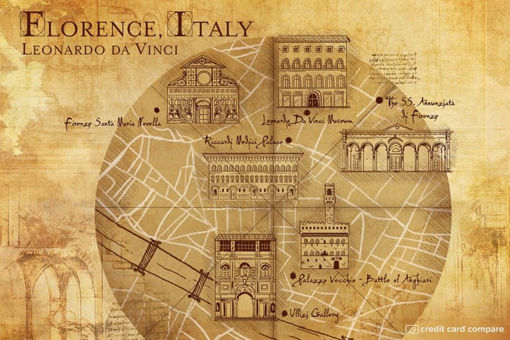 A map of Florence in the style of Leonardo da Vinci