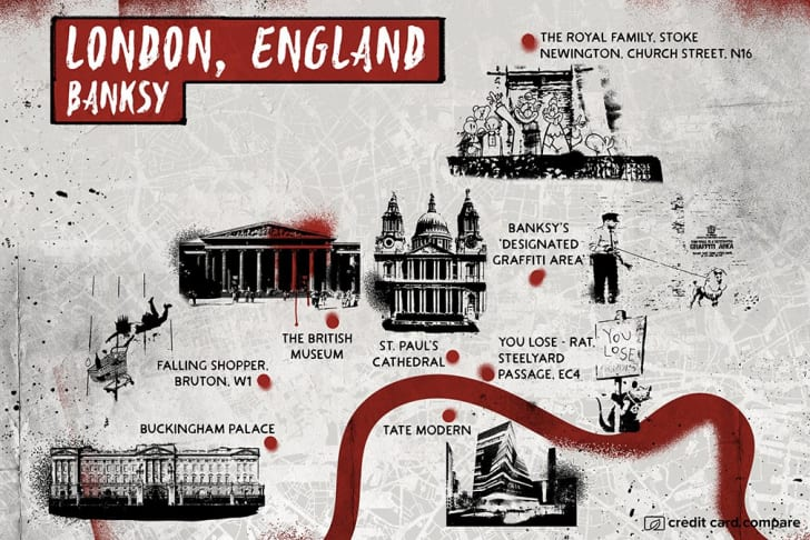 An artsy map of London in the style of Banksy