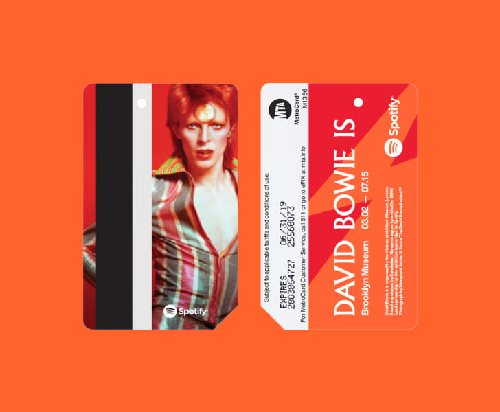 A promotional David Bowie MetroCard