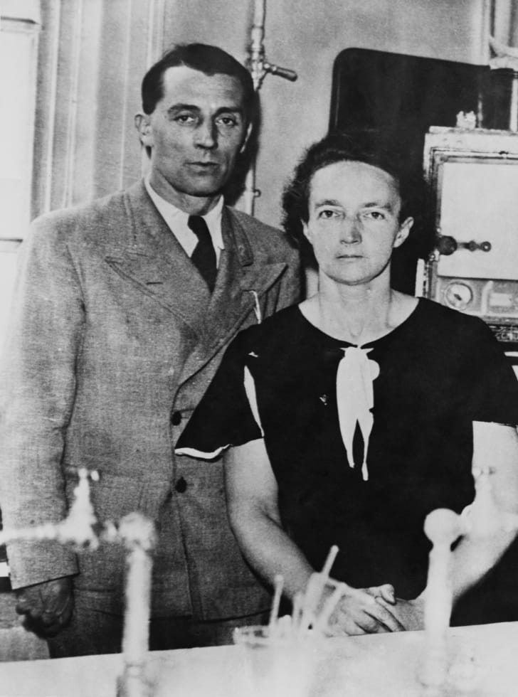 Marie Curie's daughter Irène Joliot-Curie, and her husband, Frédéric Joliot-Curie, circa 1940.