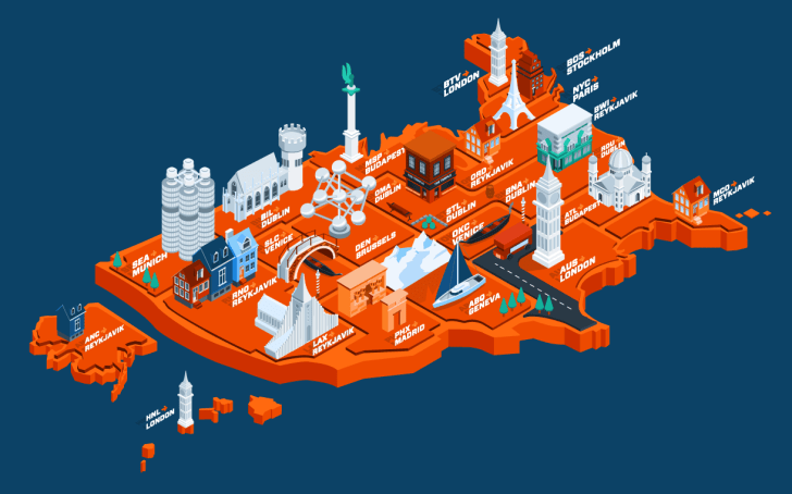 An orange map of the United States with illustrations showing the cheapest European travel destinations for the summer