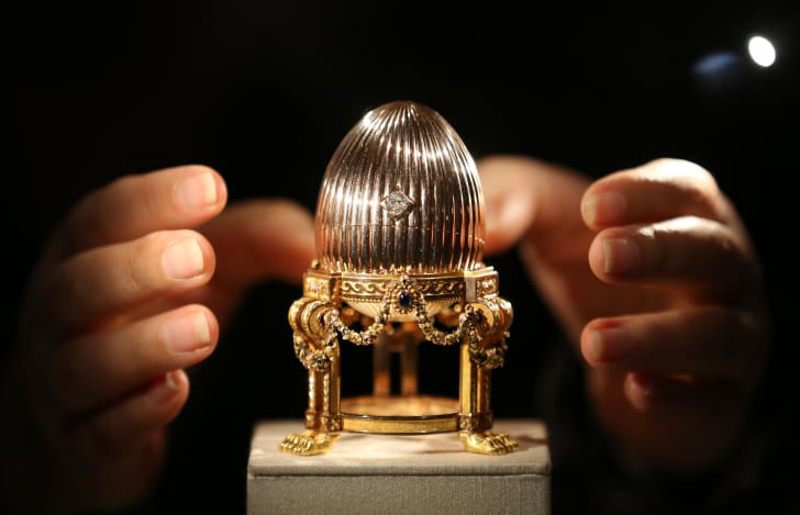 A Carl Faberge Easter Egg on display in London in 2014