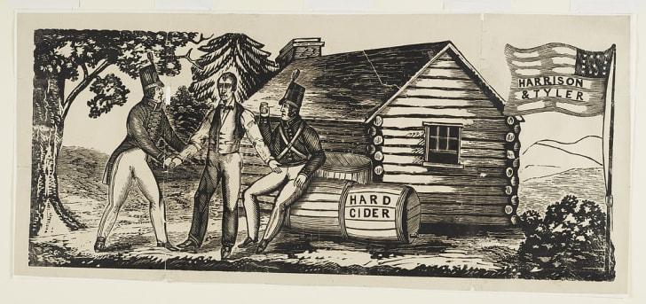 """A """"Harrison & Tyler"""" woodcut used in the 1840 campaign"""