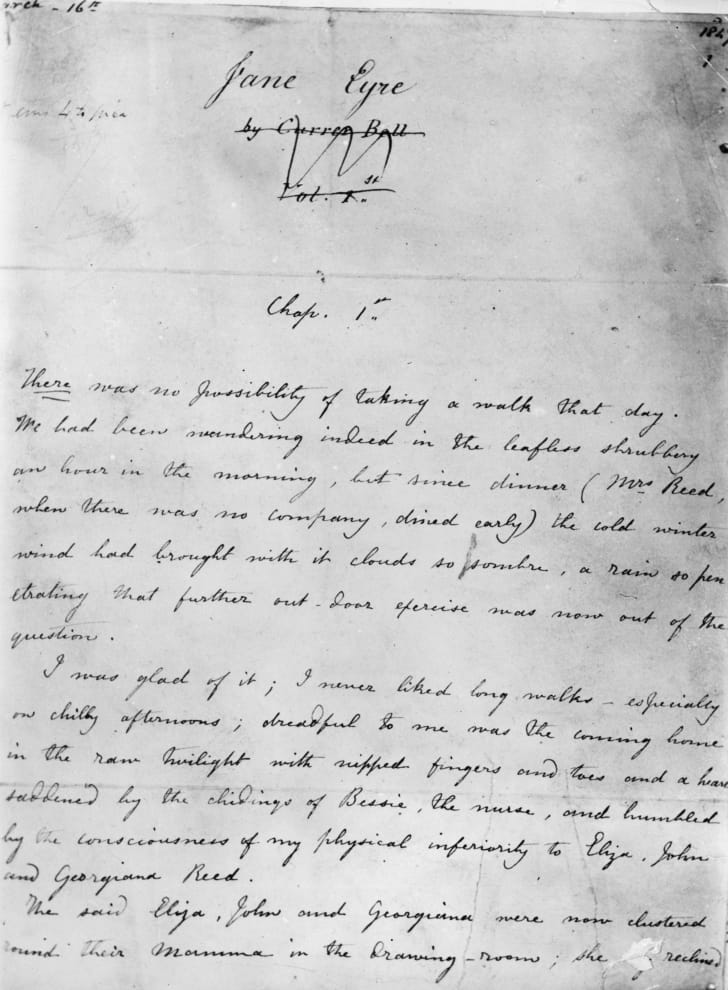 The first page of the manuscript 'Jane Eyre.'