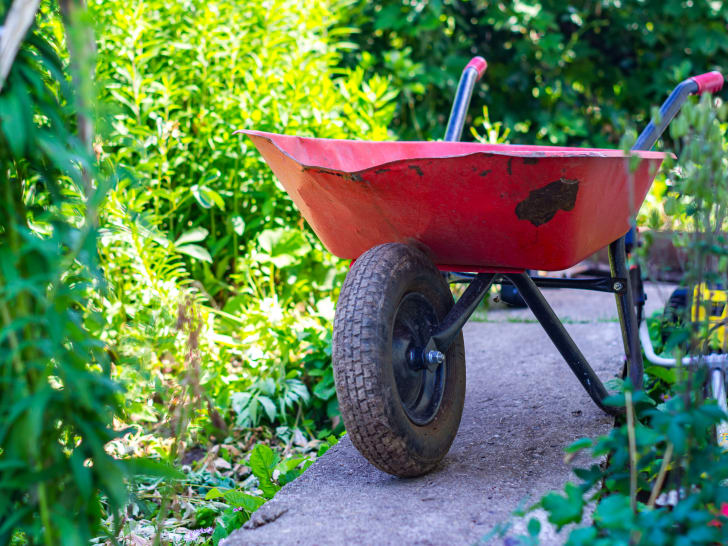 A picture of a red wheelbarrow
