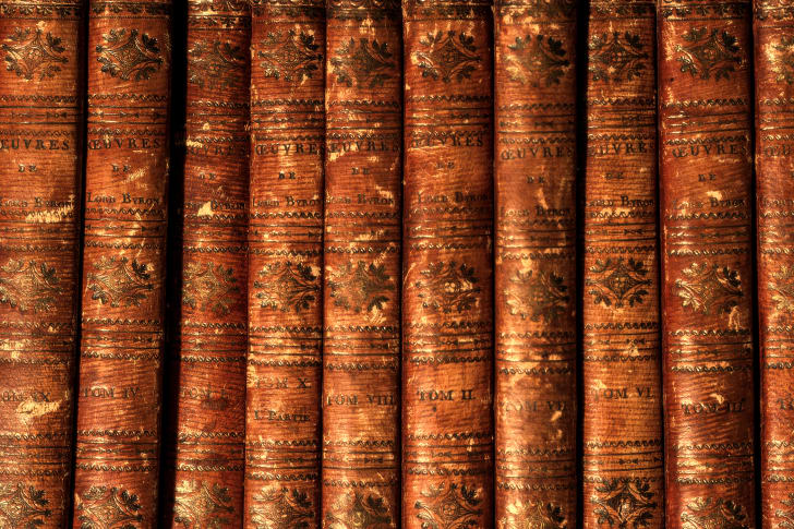 A row of books by Lord Byron