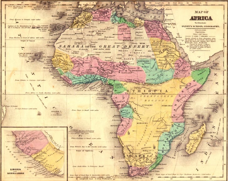 Map of Africa in 1840