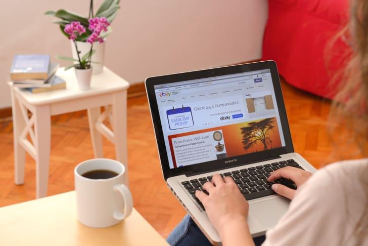 laptop showing ebay website