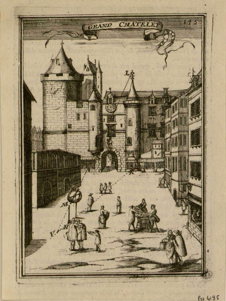 Print of the Grand Châtelet of Paris by Allain Manesson-Mallet,1702