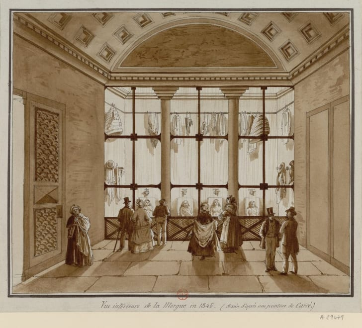 Drawing of the Paris morgue circa 1845