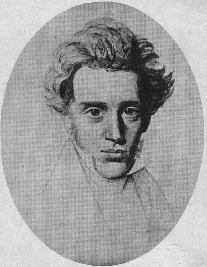 Danish philosopher Soren Aabye Kierkegaard (1813 - 1855), the founder of existentialism.
