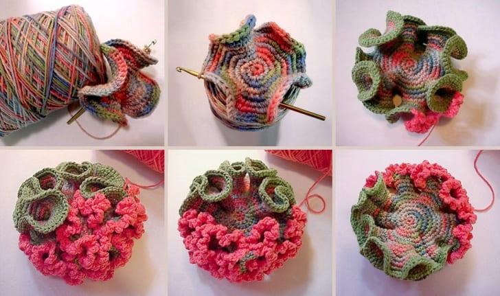six steps of crocheting a hyperbolic plane