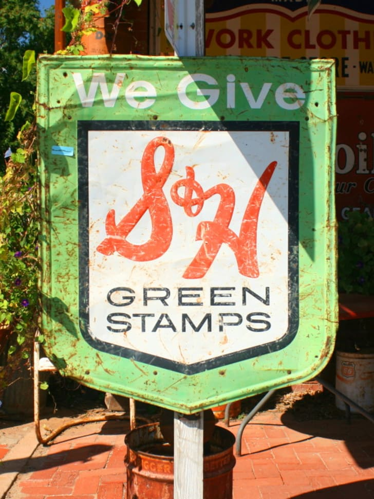 Green stamps sign