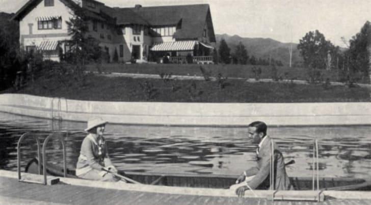 Mary Pickford and Douglas Fairbanks at their home Pickfair.