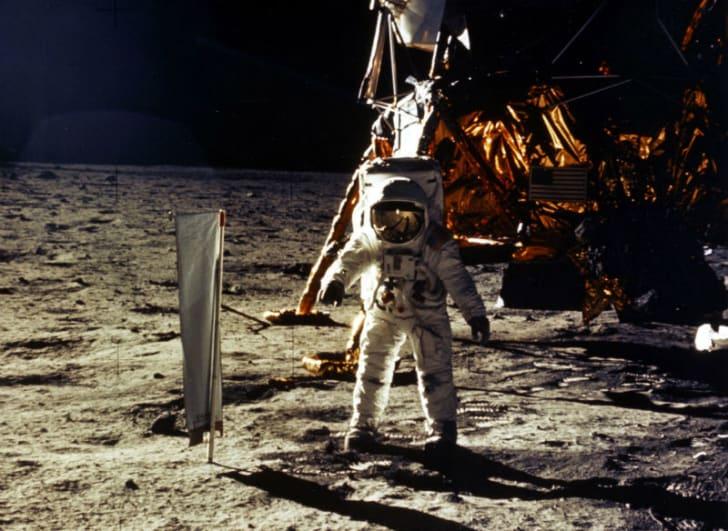 Buzz Aldrin is seen walking on the moon